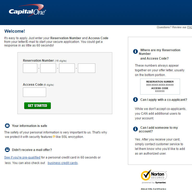 Application.CapitalOne.com - Respond to Capital One Credit Card Offer